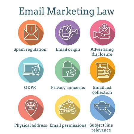Email Marketing Rules & Regulations Icon Set