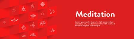 Meditation Icon Set with Web Header Banner