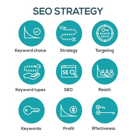 SEO Strategy - Search engine optimization concept, including keywords, etc