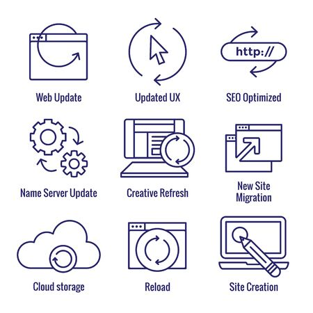 Website Update Icon Set - seo update, site creation, and name server update Ilustrace