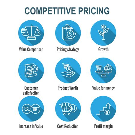 Competitive Pricing Icon Set w Growth, Profitability, and Worth Ilustrace