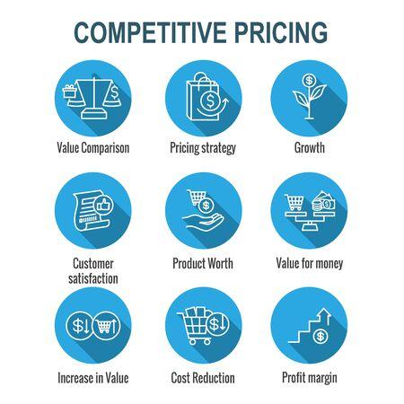 Ensemble d'icônes de prix compétitifs avec croissance, rentabilité et valeur