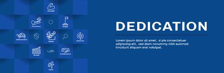 Dedication, Vision and Values Web Header Banner w Connection, Growth, Focus, and Quality