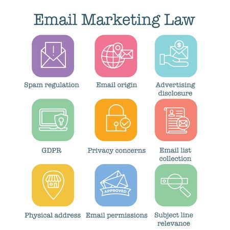 Email Marketing Rules & Regulations Icon Set Иллюстрация