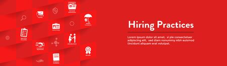 Hiring Practices icon set & web header banner Stok Fotoğraf - 125514765