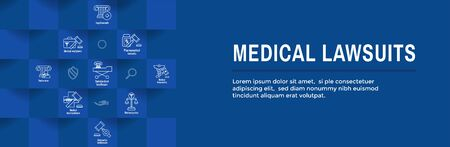 Medical Lawsuits Icon Set with Web Header Banner
