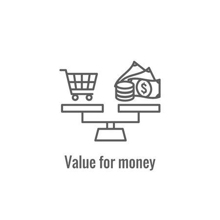 Icono de precios competitivos que muestra un aspecto de precios, crecimiento, rentabilidad, valor Ilustración de vector