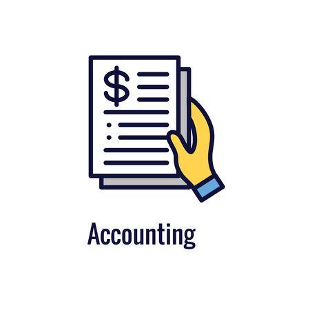 Buchhalter oder Buchhaltung Icon Set mit Geld, Buchhaltung und ähnlichem Konzept