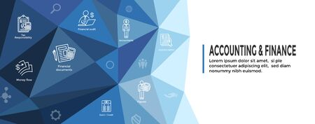 Contador / Conjunto de iconos de contabilidad y banner de encabezado web