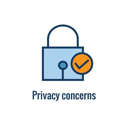 Pictogram voor regels en voorschriften voor e-mailmarketing met idee voor e-mailprivacyregel