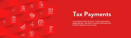 Concetto fiscale con percentuale pagata, icona e idea di reddito. Illustrazione di contorno vettoriale piatto Banner di intestazione Web