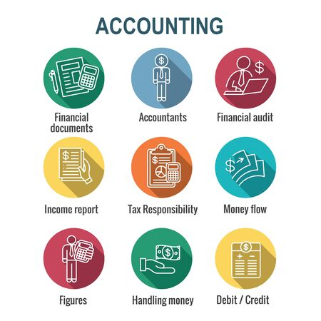 Accountant or Accounting Icon Set w money, accountant and figures images