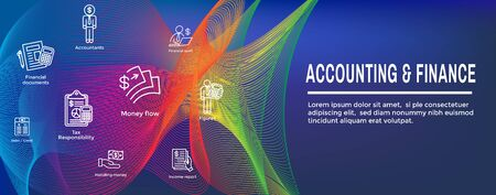 Accountant / Accounting Icon Set and Web Header Banner