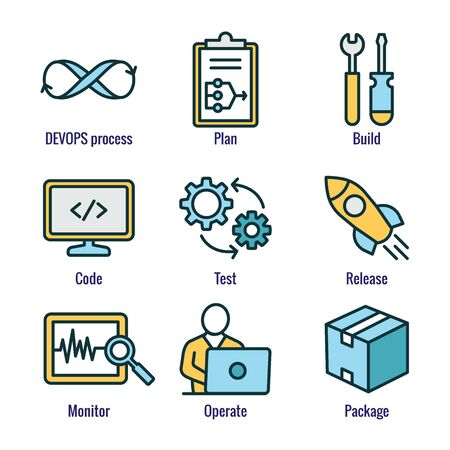 DevOps Icon Set - Plan, Build, Code, Test, Release, Monitor, Operate and Package Stock Illustratie