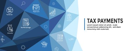 Tax concept w percentage paid, icon and income idea. Flat vector outline illustration Web Header Banner