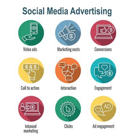 Social Media Ads Icon Set - video ads, user engagement, etc