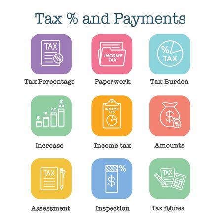 Steuerkonzept mit gezahltem Prozentsatz, Symbol und Einkommensidee. Flache Vektor-Umriss-Darstellung. Vektorgrafik