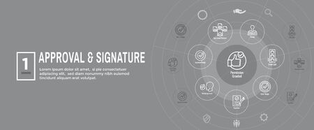 Approval and Signature Icon Set & Web Header Banner Illustration