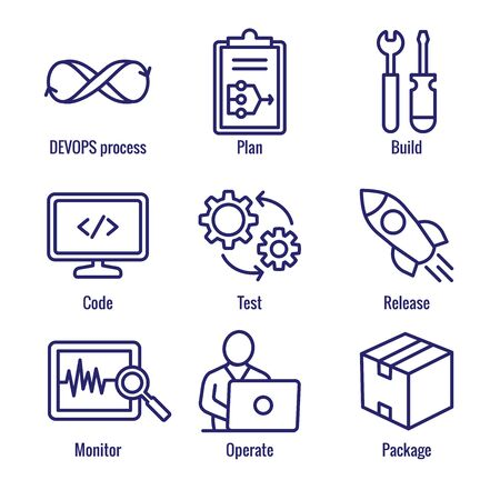 DevOps Icon Set - Plan, Build, Code, Test, Release, Monitor, Operate and Package Illusztráció
