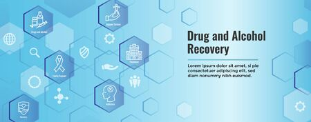 Drug & Alcohol Dependency Icon Set and Web Header Banner Illustration