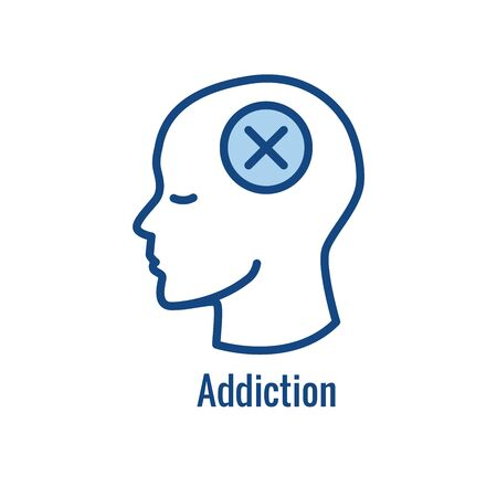 Drug and Alcohol Dependency Icon showing drug addiction imagery Vectores