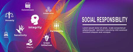 Social Responsibility Plus Icon Set & Web Header Banner Foto de archivo - 128005446