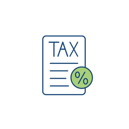 Tax concept w percentage paid, icon and income idea. Flat vector outline illustration. Vectores