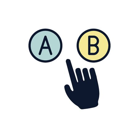 Testing, Trial, Research Icon with A and B letters Illusztráció