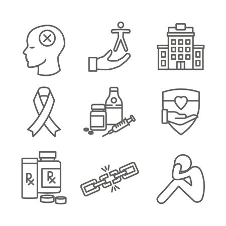 Drug & Alcohol Dependency Icon Set w support, recovery, and treatment Illusztráció