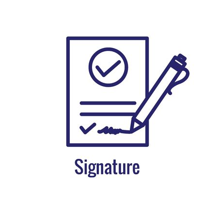Approval & Signature Icon with approved imagery - to show someone's given the go ahead