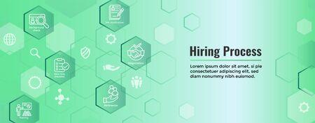 The Hiring Process icon set and web header banner Vektoros illusztráció