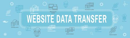 Website Data Transfer Icon Set - Web Header Banner Illustration