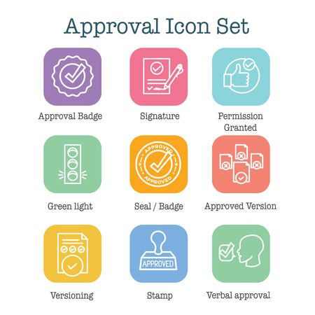 Approval & Signature Icon Set with Stamp and version icons Çizim