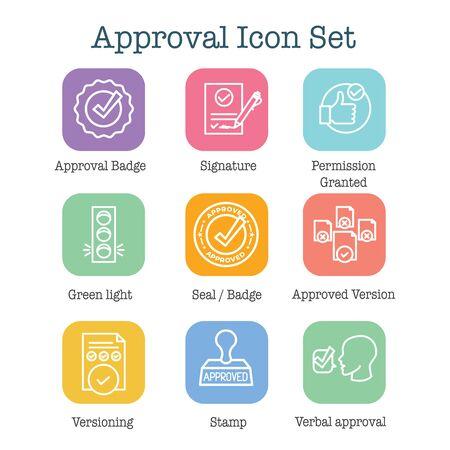 Set di icone di approvazione e firma con icone di timbro e versione Vettoriali
