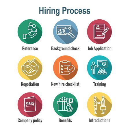 Hiring Process icon set and Benefits, background check, introductions, etc