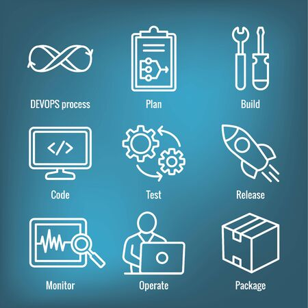 DevOps Icon Set - Plan, Build, Code, Test, Release, Monitor, Operate and Package Иллюстрация