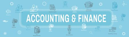Accountant  Accounting Icon Set and Web Header Banner