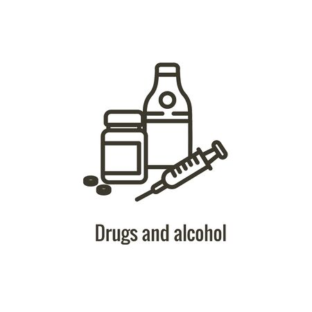Drug and Alcohol Dependency Icon showing drug addiction imagery Illustration