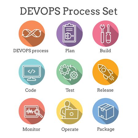 DevOps Icon Set - Plan, Build, Code, Test, Release, Monitor, Operate and Package 일러스트