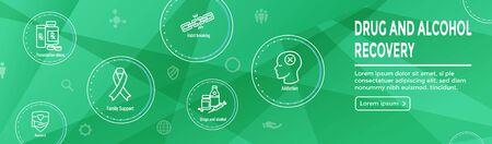 Drug & Alcohol Dependency Icon Set and Web Header Banner Ilustração
