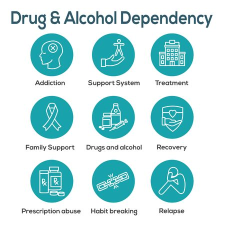 Drug & Alcohol Dependency Icon Set w support, recovery, and treatment Illustration