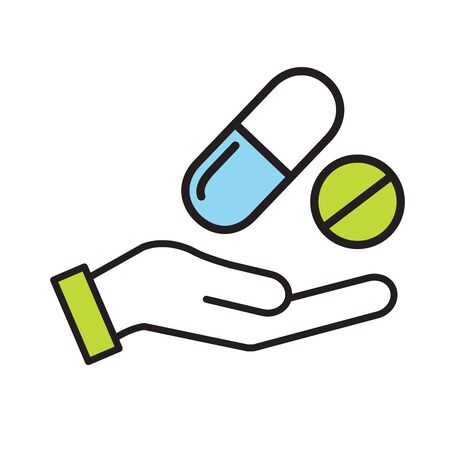 Hand w prescription drugs - pill tablets and capsules