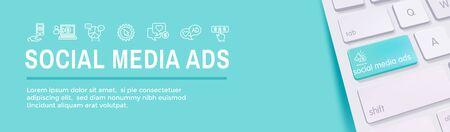 Social Media Ads Icon Set with Web Header Banner Иллюстрация