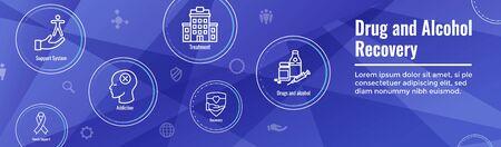 Drug & Alcohol Dependency Icon Set and Web Header Banner Illustration