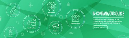 In-Company w Outsource Icon Set with web header banner Ilustração