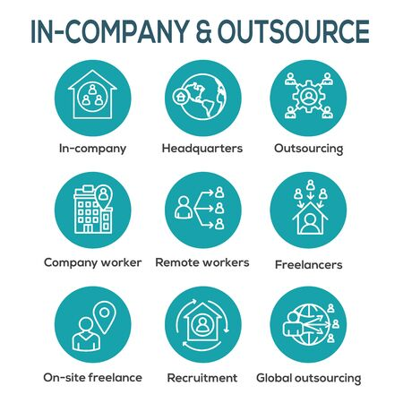 Inhouse Outsource Icon Set and Web Header Banner