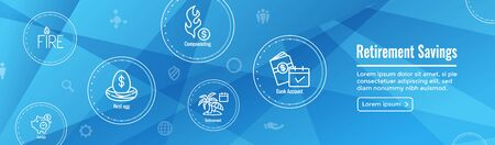 Retirement Savings Icon Set as well as Web Header Banner