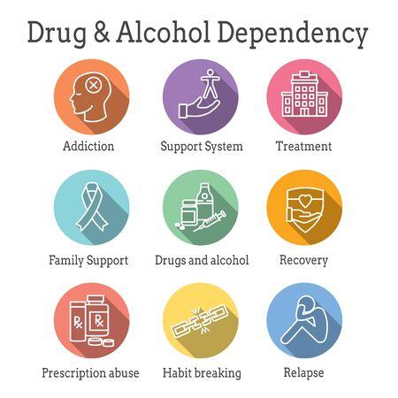 Ensemble d'icônes de dépendance aux drogues et à l'alcool avec assistance, récupération et traitement Vecteurs