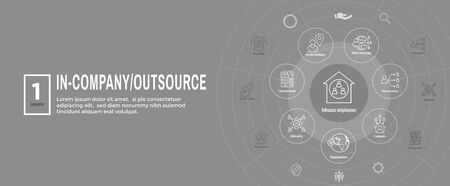 In-Company w Outsource Icon Set with web header banner 일러스트