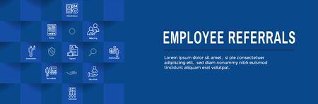 Employee Referrals Icon Set & Web Header Banner Ilustração